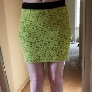 💜Candie's bright yellow floral knit skirt, Sm💜